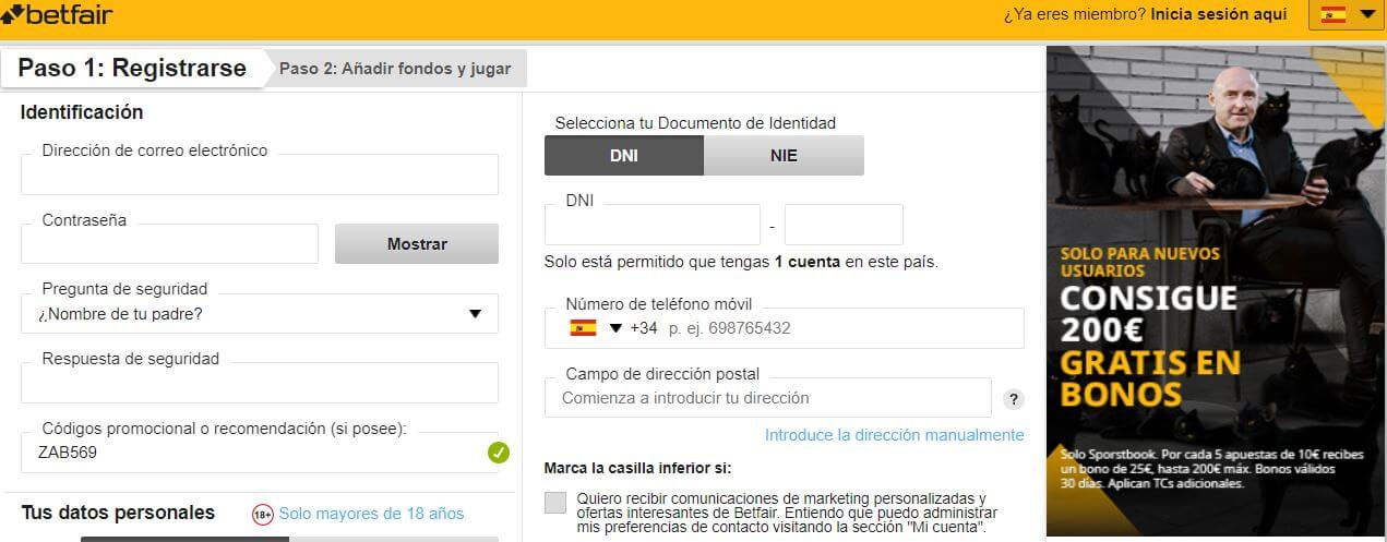 Betfair registro
